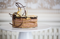 Opera Cake: Almond Cake, Buttercream, and Valrhona Chocolate Mirror Glaze