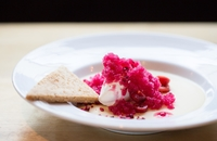 Salted Butterscotch Custard, Cranberry-Sparkling Wine Granita, Pickled and Dehyd